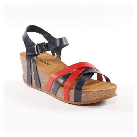 Blancheporte Kožené dvoubarevné sandály na klínku, námořnicky modré nám.modrá/červená