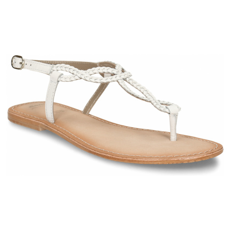 Bílé dámské kožené sandály s pletenými pásky Baťa