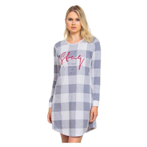 Dámská noční košile s dlouhým rukávem Vienetta Secret Stay | šedá