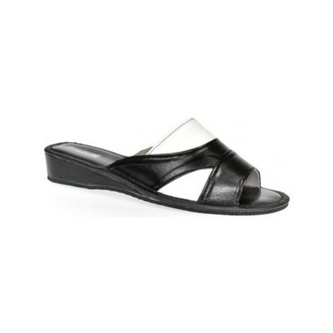 John-C Dámske čierno-biele papuče RITA Černá