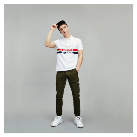 Tommy Jeans pánské bílé tričko Block stripe polo