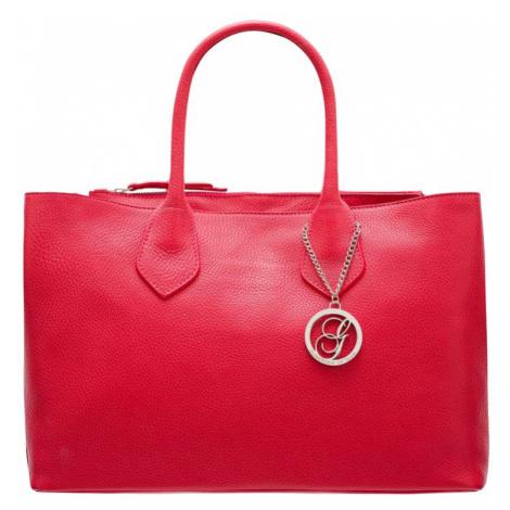 Dámská velká kabelka do ruky se stříbrným kováním - červená Glamorous
