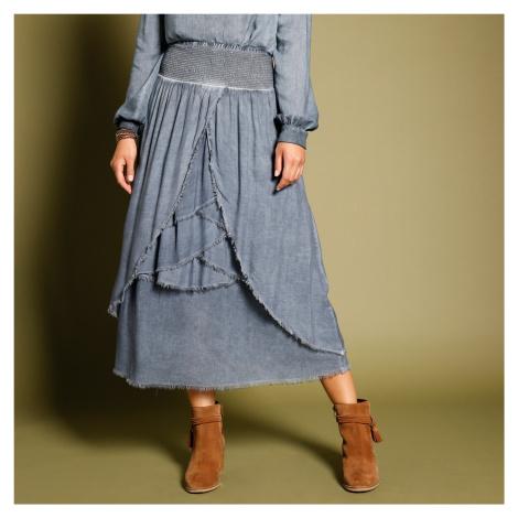 Blancheporte Volánová asymetrická sukně modrá džínová
