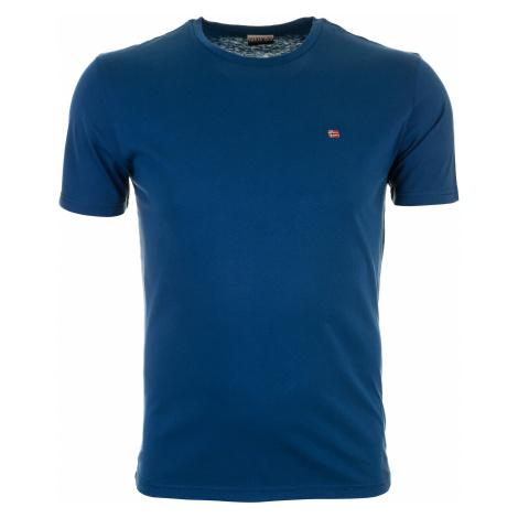 Pánské modré tričko Napapijri s malým vyšitým logem