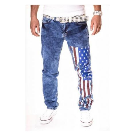KC-1981 kalhoty pánské jeans vlajka USA