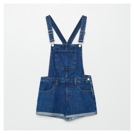 Cropp - Džínové kalhoty s laclem - Modrá