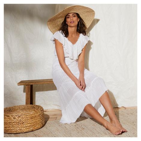 Blancheporte Dlouhé šaty se širokým volánem bílá