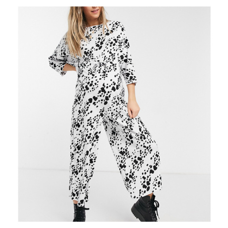 ASOS DESIGN maternity lounge jersey tie waist jumpsuit in white animal print-Multi