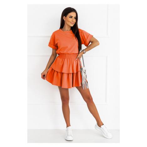 Dámský komplet s volánkovou sukní oranžový D14 IVON