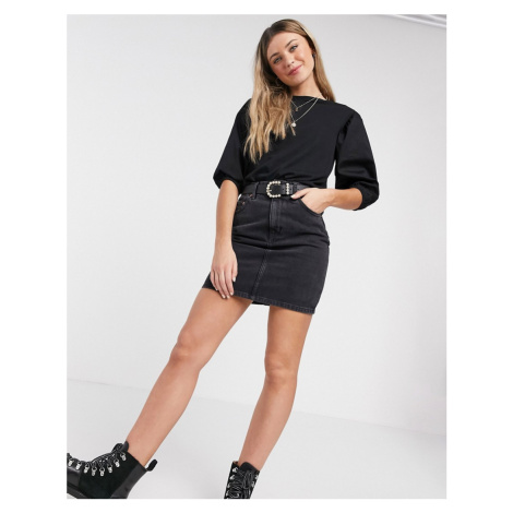 New Look poplin sleeve t shirt in black