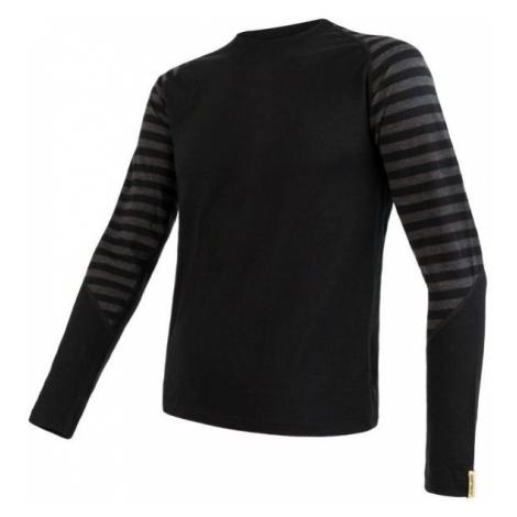 Sensor Merino Active Pánské triko dlouhý rukáv - Pruhy black/grey