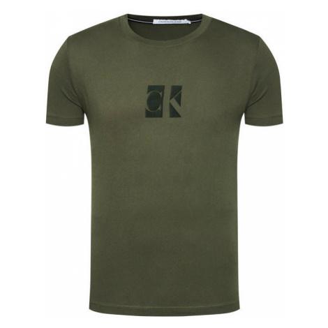 Calvin Klein Calvin Klein pánské olivové tričko SLIM ORGANIC COTTON LOGO T-SHIRT