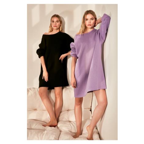 Trendyol Lila Oversize Knitted Dress