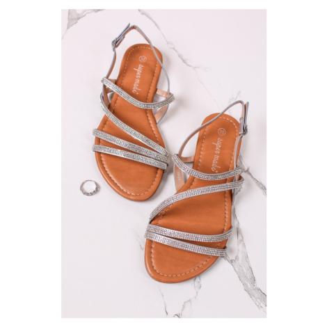 Stříbrné nízké sandály Natasha Belle Women