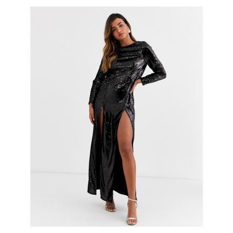 ASOS DESIGN Copenhagen maxi dress with cowl back in allover sequin-Black