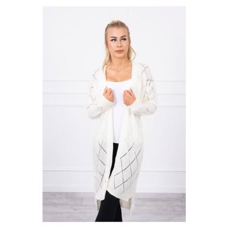 Sweater with a geometric pattern ecru Kesi
