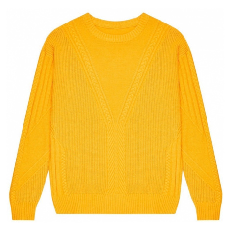 Cable-knit sweater - yellow Moodo