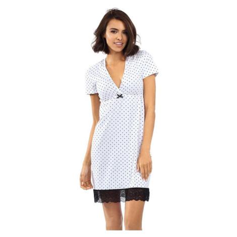 Dámská noční košile Luisa bílá s puntíky Excellent Beauty