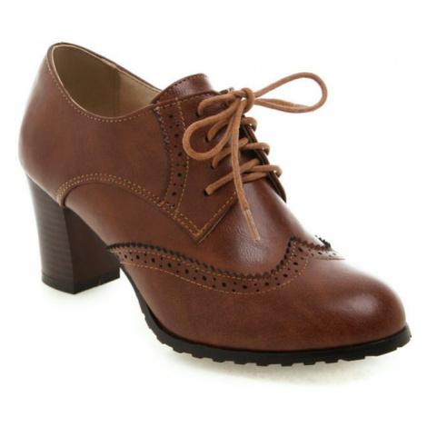 Elegantní polobotky s tkaničkami kožené boty na podpatku - 39/41