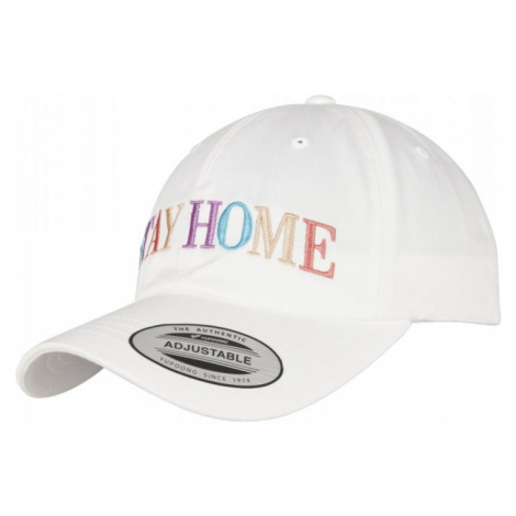 Stay Home EMB Dad Cap - white Urban Classics