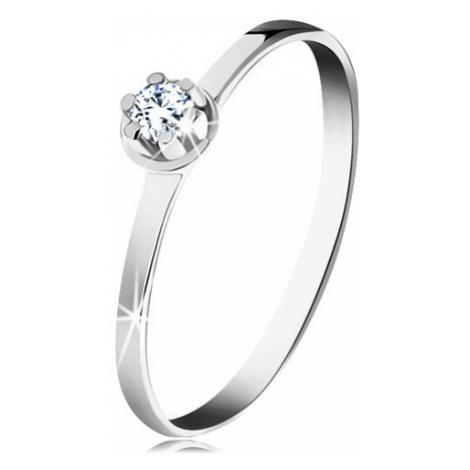 Zlatý prsten 585 - čirý diamant ve vyvýšeném kulatém kotlíku, bílé zlato Šperky eshop