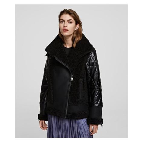 Bunda Karl Lagerfeld Faux Fur Biker Jacket - Černá