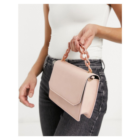 ASOS DESIGN cross body bag with resin top handle chain in blush-Pink