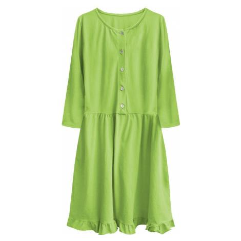 Bavlněné dámské oversize šaty v limetkové barvě (305ART) Made in Italy