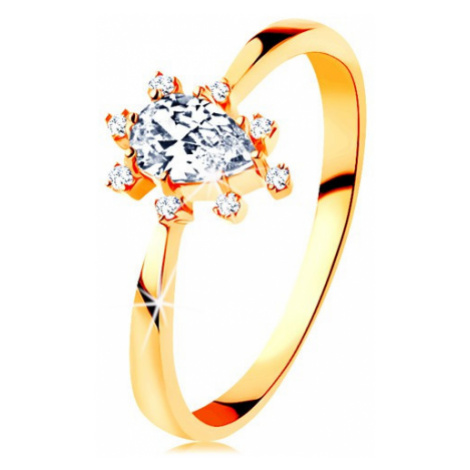 Prsten ve žlutém 14K zlatě - čirá zirkonová kapka, vyčnívající zirkonky Šperky eshop