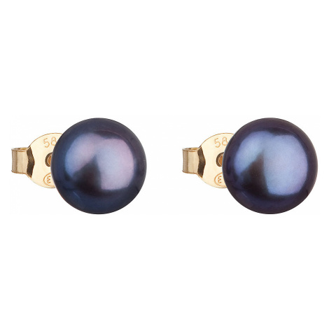 Zlaté 14 karátové náušnice pecky s modrou říční perlou 921042.3