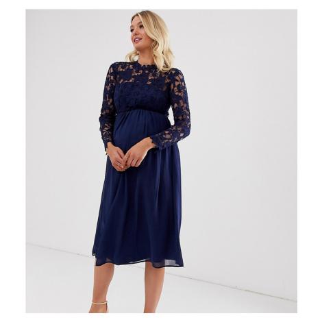 Chi Chi London Maternity crochet lace midi dress with chiffon skirt in navy