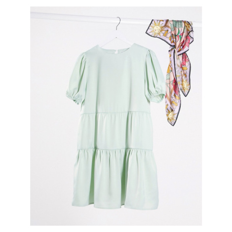 Lola May smock dress with puff sleeve-Green