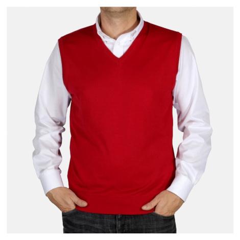 Pánská pletená vesta Willsoor 5030 v bordó barvě