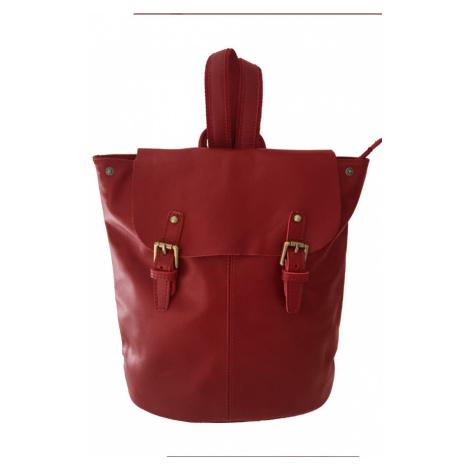 Dámský jednobarevný batoh z pravé kůže