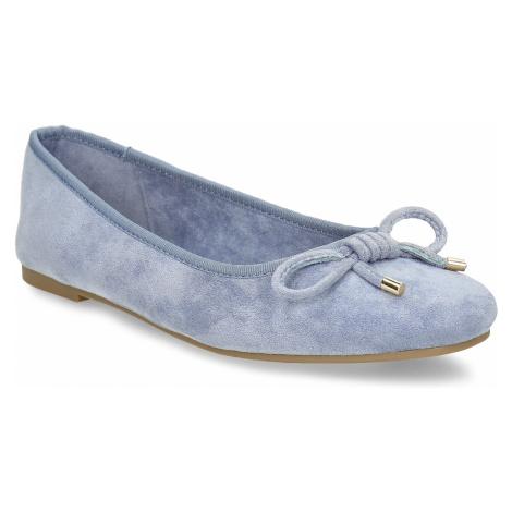 Modré dámské baleríny s mašlí Baťa