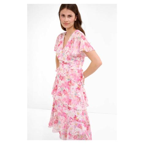 Květované midi šaty s volánky Orsay