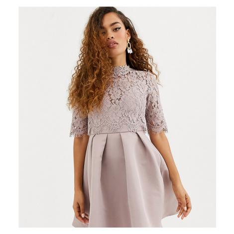 Little Mistress Petite lace upper skater dress-Grey