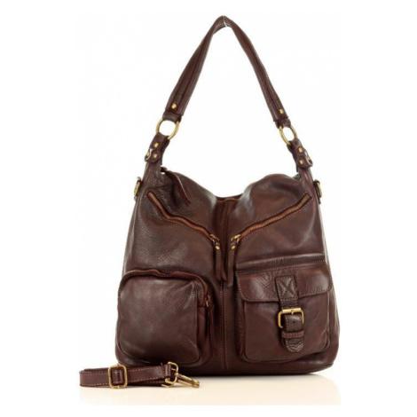 Kožená taška přes rameno italská kabelka s kapsami