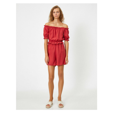 Koton Women's Red Off The Shoulder Short Sleeve Ruffle Jumpsuit