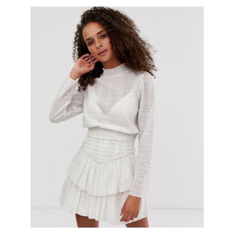 ASOS DESIGN high neck shirred waist mini dress in texture in ivory-Cream