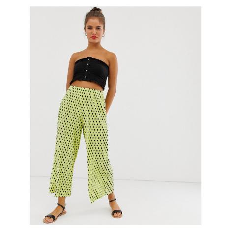 ASOS DESIGN plisse spot culotte trousers-Yellow