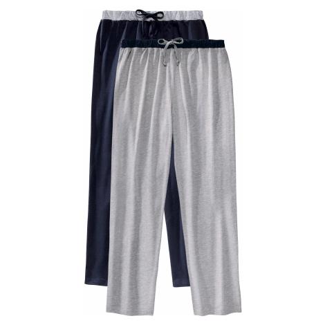Blancheporte Pyžamové kalhoty, sada 2 ks nám.modrá+šedý melír