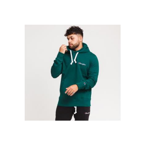 Champion Small Script Logo Hooded Sweatshirt tmavě zelená