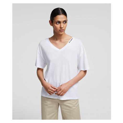 Tričko Karl Lagerfeld Double V Neck T-Shirt - Bílá