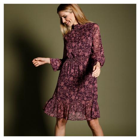 Blancheporte Šaty s potiskem a voálem švestková/lila