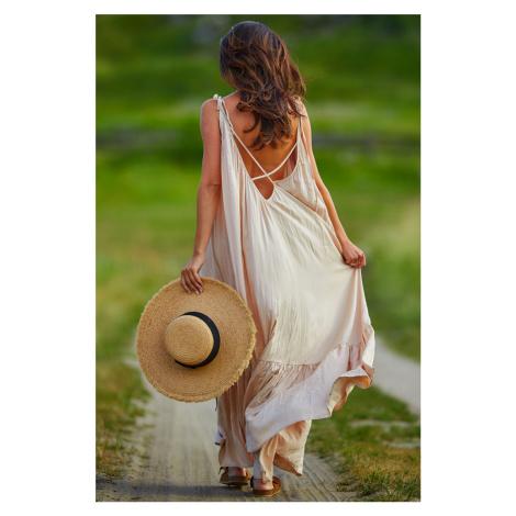 Béžové šaty A307 Awama