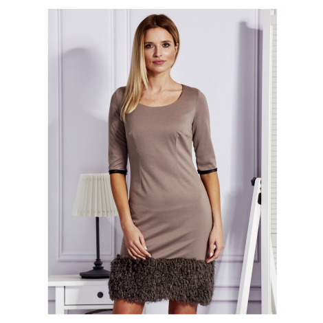Light brown dress with a fluffy PLUS SIZE finish Fashionhunters