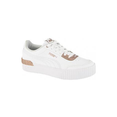Bílé kožené tenisky Puma Carina Lift Shine
