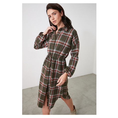 Trendyol Plaid Shirt Dress WITH Multicolored Binding Detail