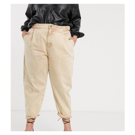ASOS DESIGN Curve tapered boyfriend jeans with d-ring waist detail with curved seams in washed l
